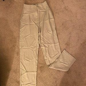 Sage Linen Button Front Cigarette Trouser